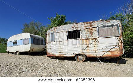 Old abandoned caravans