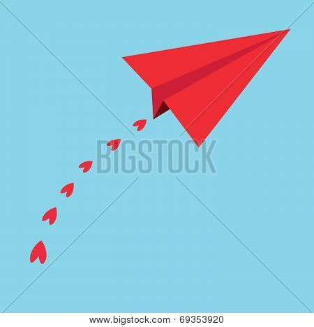 Red paper airplanes. heart in the blue sky - vector illustration