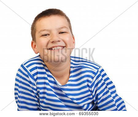 Boy The Teenager Smiles Isolated On A White Background