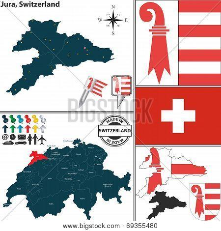 Map Of Jura, Switzerland