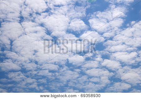 Mottled clouds.