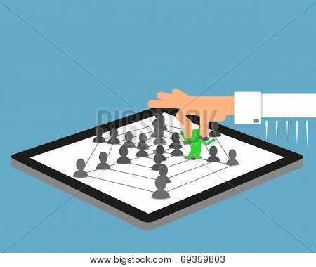 Human hand picked up a person from social community  illustrated on tablet pc