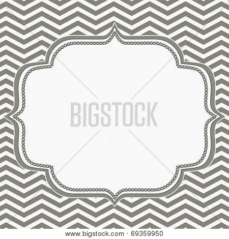 Gray And White Chevron Frame With Embroidery Background