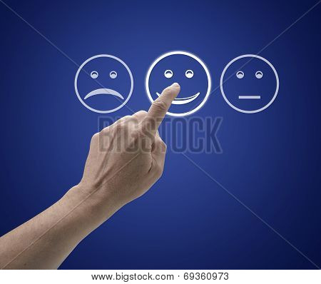 Hand Touching Screen With Customer Service Evaluation Form.