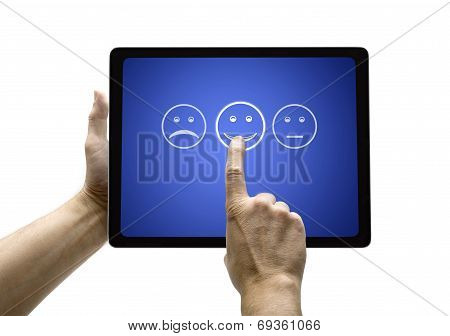 Hand Touching Screen With Customer Service Evaluation Form On A Tablet
