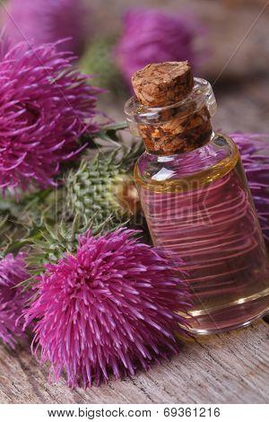 Oil Of Burdock Macro In A Glass Bottle Vertical