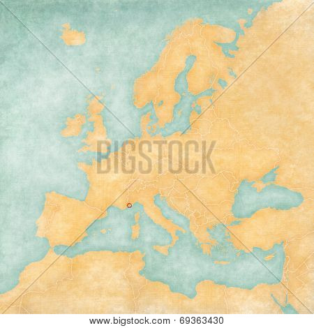 Map Of Europe - Monaco (vintage Series)