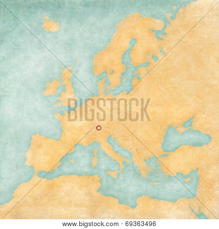 Map Of Europe - Liechtenstein (vintage Series)