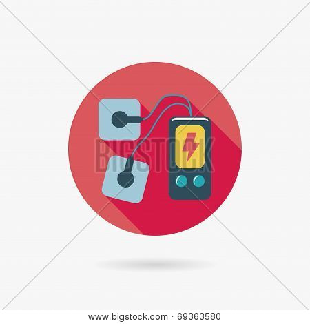 Electric Massage Flat Icon With Long Shadow