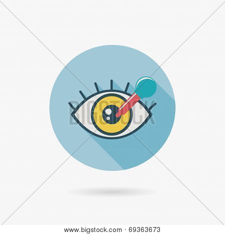 Optometry Flat Icon With Long Shadow