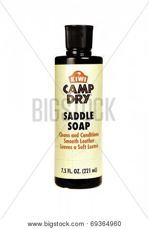 Hayward, CA - July 3 1, 2014: 7.5 fl oz bottle of Kiwi Brand, Camp Dry Saddle Soap leather cleaner and conditioner