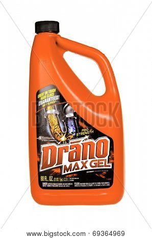 Hayward, CA - July 31, 2014: 80 fl oz container of Pro Strength DRANO Max Gel drain unclogger by Johnson
