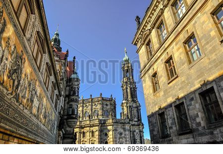 Church Frauenkirche Area In Dresden Germany