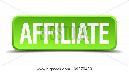 Affiliate Green 3D Realistic Square Isolated Button