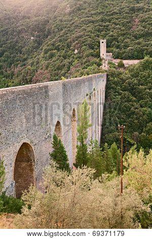 Antique Bridge Aqueduct In Sploleto, Italy