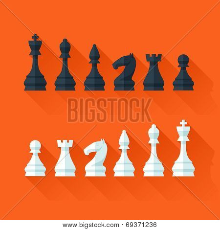 Chess figures set in flat modern style for design concept.