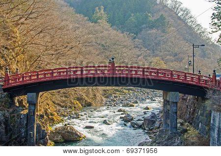 Red Sacred Bridge In Nikko World Heritage Area