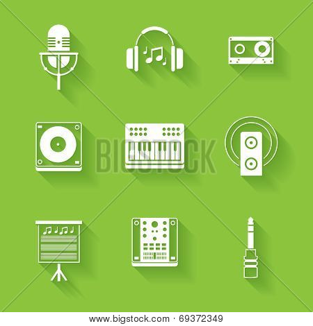 Set of white music and sound icons.