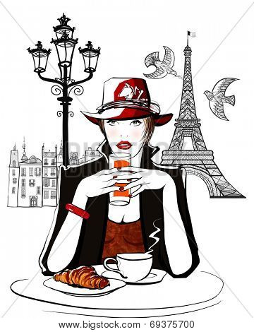 Paris - woman on holiday having breakfast at a terrace of an hotel - vector illustration
