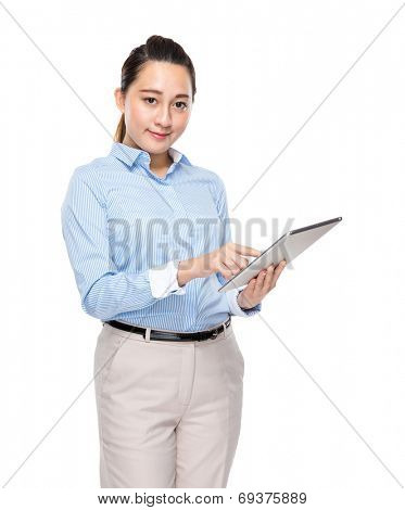 Mixed race businesswoman use digital tablet