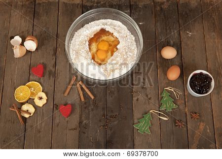 Baking Ingredients On Old Wooden Table