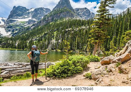 Female Hiker Looking At Odessa Lake