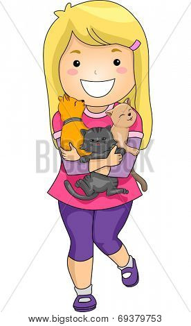 Illustration Featuring a Little Girl Hugging a Bunch of Kittens