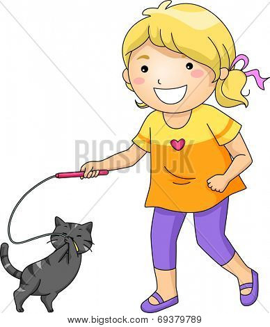 Illustration Featuring a Little Girl Playing with Her Pet Cat