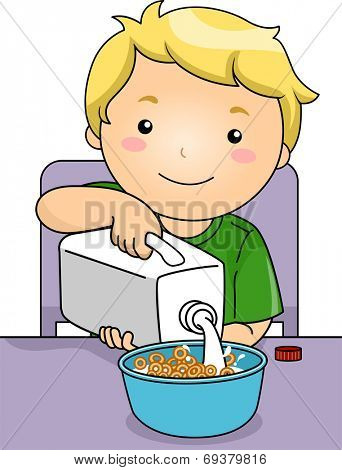 Illustration Featuring a Boy Pouring Milk on His Cereal