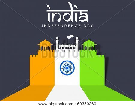Illustration of famous monument of India Red Fort painted in national tricolors on grey background for 15th of August, Indian Independence Day celebrations.