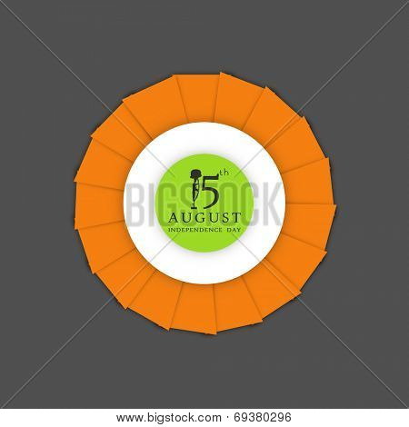Beautiful sticky design in national tricolors on grey background for 15th of August, Indian Independence Day celebrations.