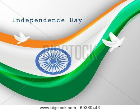 Indian National flag waving and flying pigeons, symbol of freedom on grey background for 15th of August, Indian Independence Day celebrations.