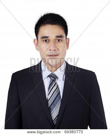 Closeup Of Asian Businessman In Studio