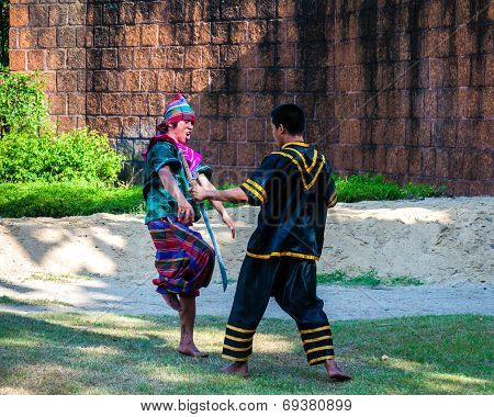 Fighters Exercise For Thai Traditional Martial Art Demonstration