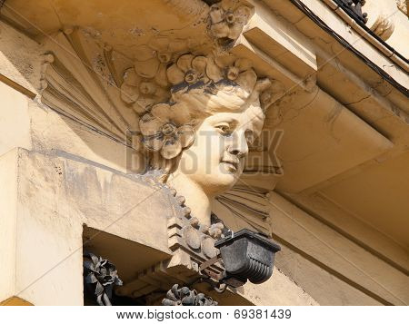 Face Detail In A Building