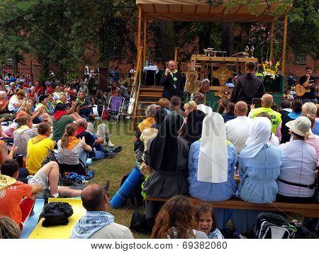 Kalety Miotek Poland - August 01 2014: Stopping And Waiting For Mass, Walking Pilgrimage From Rybnik