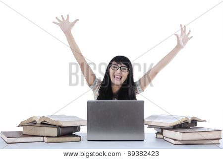 Female Student Expressing Happiness