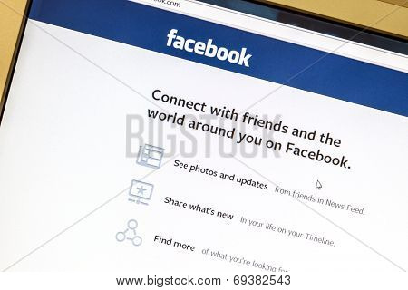 Ostersund, Sweden - August 2, 2014: Facebook website displayed on a computer screen. Facebook is the largest social media network on the web,