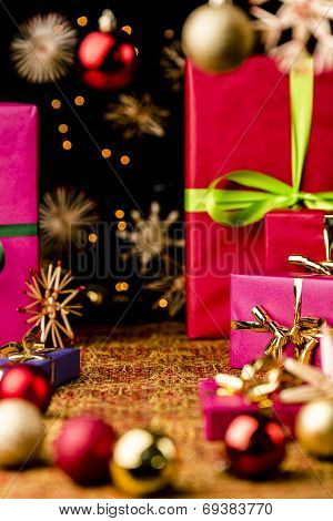 Xmas Background with Gifts, Stars and Spheres