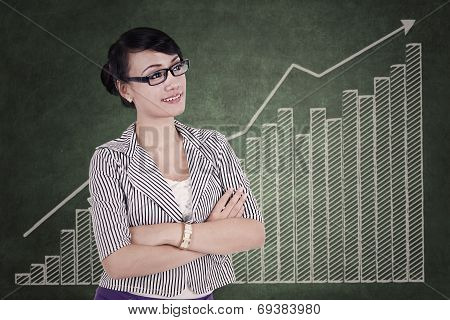 Professional Businesswoman With Business Graph