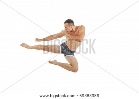 Athletic Boxer Fighter Kicking Jumping In The Air