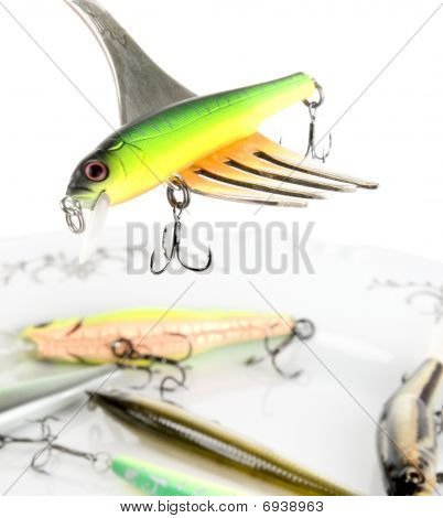 Fork With Artificial Fishing Bait