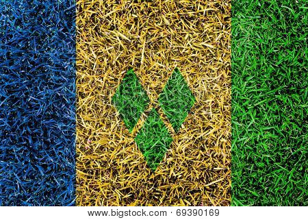 Saint Vincent And The Grenadines Flag Color Grass Texture Background