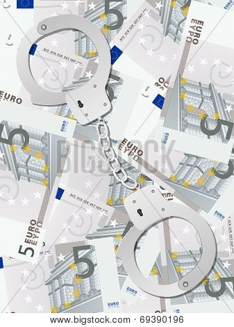 Handcuffs On Five Euro Background Vertical