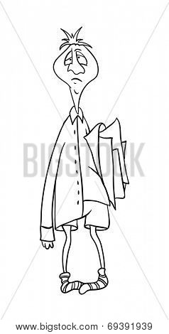 clerk with a folder of papers, contour vector illustration