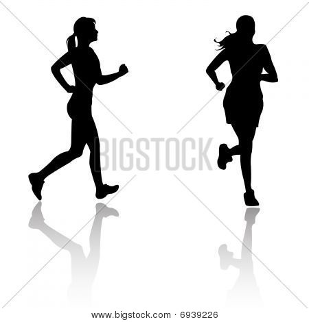 Silhouette run woman