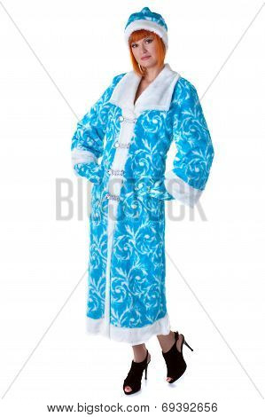 Attractive woman posing in Snow Maiden costume
