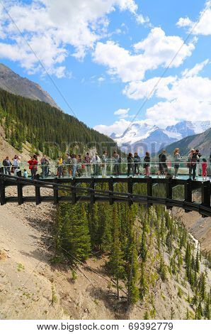 Tourists at the Glacier Skywalk in Jasper National Park