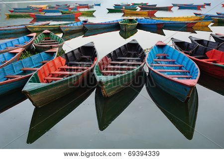 Colorful boats in the lake