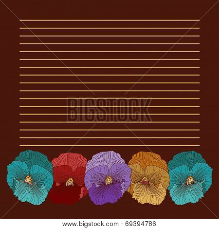Brown Background With 5 Pansies